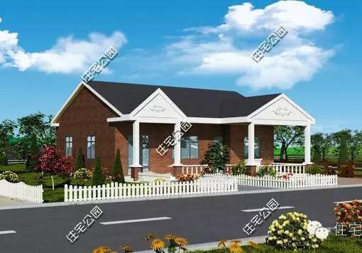 一层新农村自建舒适型平房带小院、车库... -120平6张CAD图[原创]