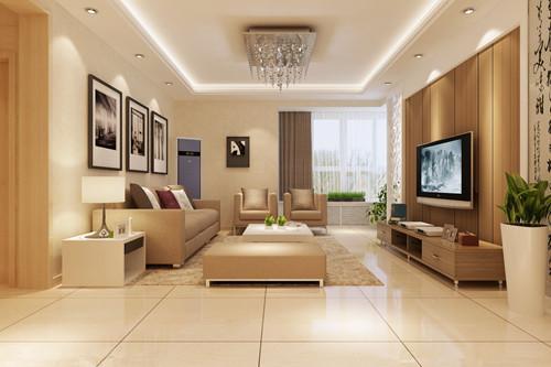 客厅选用的是地砖,斜铺的方式加上走边,风格立马... -新浪家居