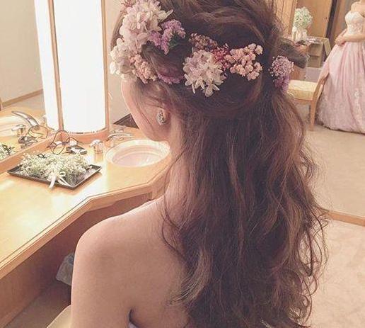 韩式新娘鲜花发型图片