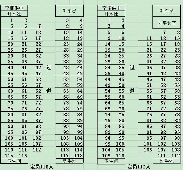 火车座位图k365