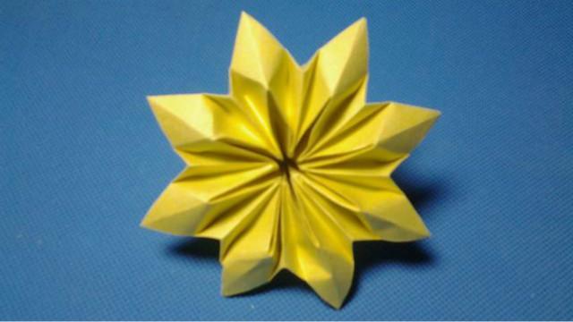 西瓜教你折纸星形花,简单易学,很漂亮