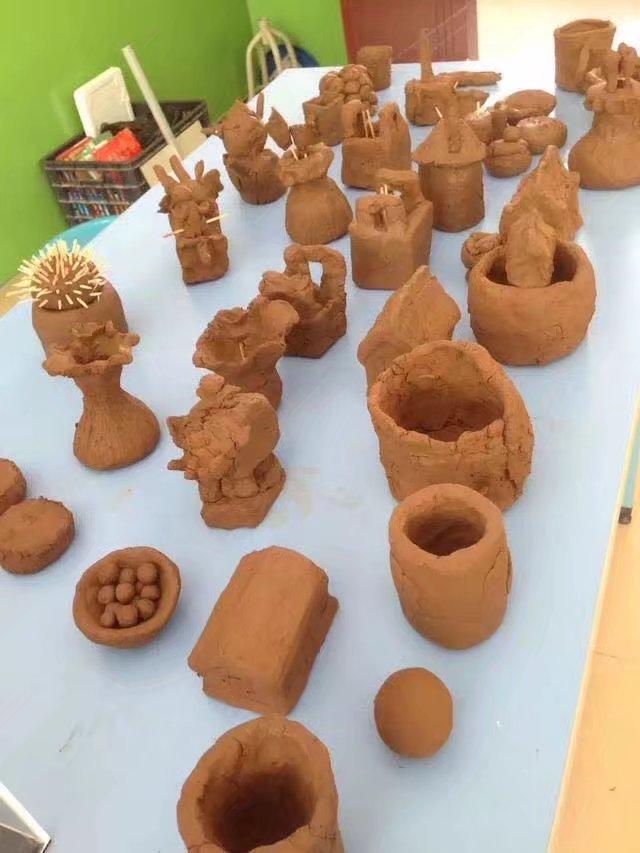儿童手工泥塑作品