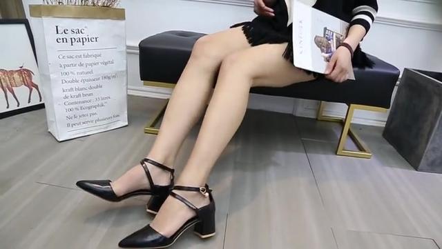 2016夏新款时尚绑带中跟单鞋