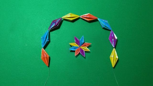 儿童手工折纸,用一张正方形折纸折一颗立体钻石,520表白必备