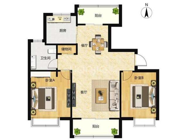风水案例图解:家居风水户型图案例分析案例二_风水图解