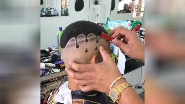 男士寸头发型雕刻图案
