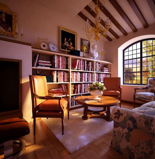 古朴、华丽、粗狂的美式风格书房效果图(9张)