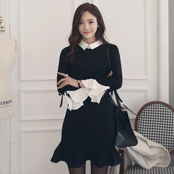 秋季新款法式复古初恋裙娃娃领黑色长袖连衣裙春秋中长款