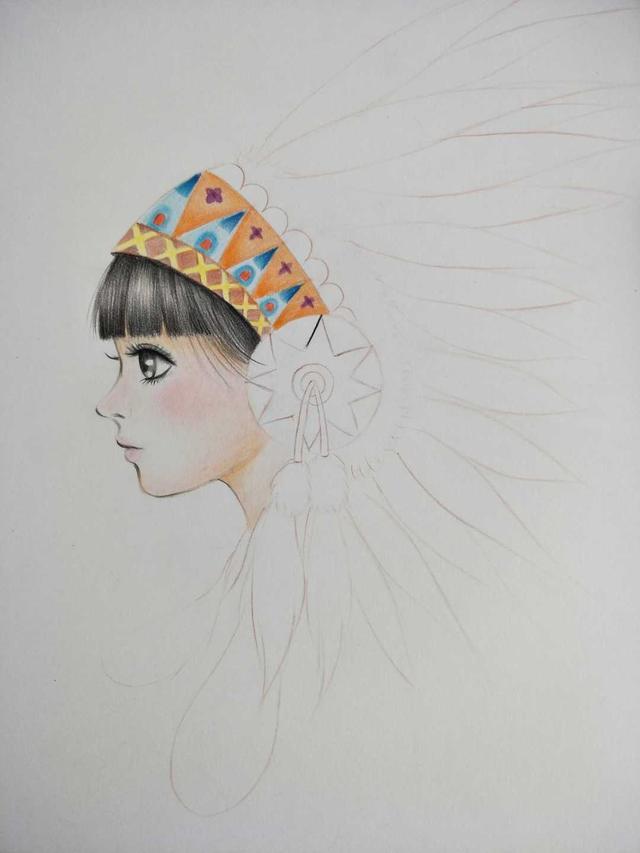 彩铅手绘人物古风少女