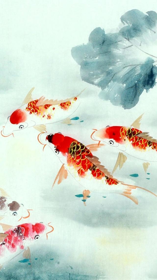 手机壁纸 水中活宝石 锦鲤美术图片