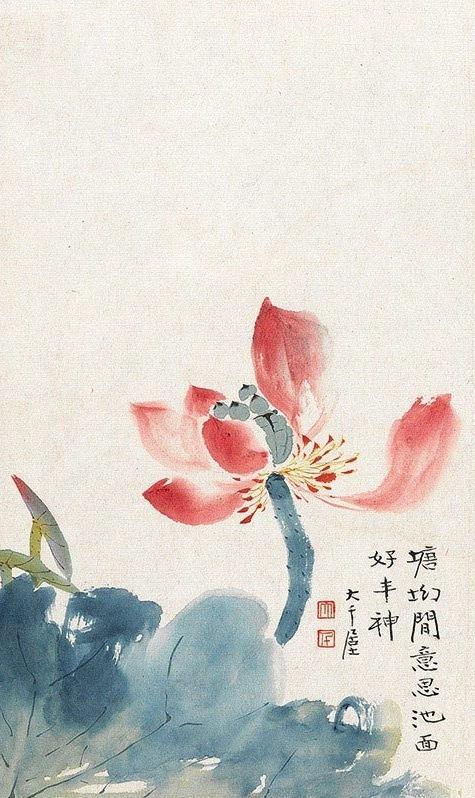 中国画-张大千所绘花鸟!写意具能!