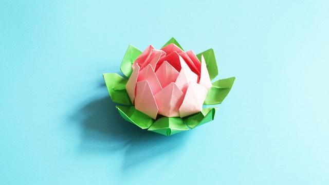 手工折纸荷花折法