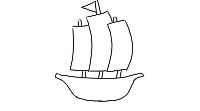 大船简笔画帆船