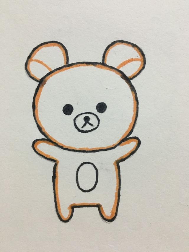 怎样画小熊简笔画步骤图带颜色好看_巧巧简笔画