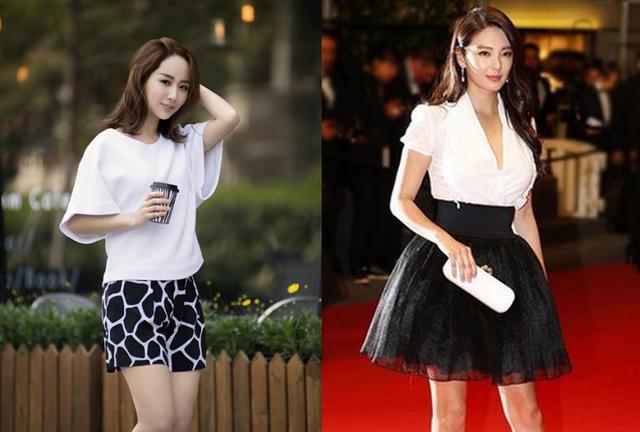 黑白条纹半身裙搭配图
