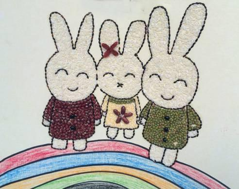 怎么做豆子拼贴画图片 儿童豆贴画作品欣赏_爱折纸网
