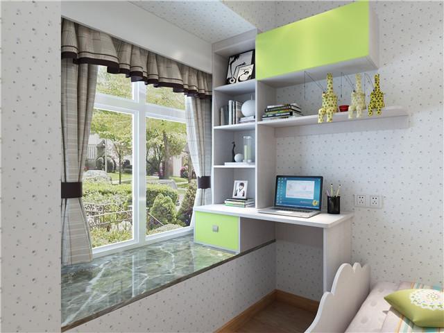 卧室飘窗改书桌设计图_装修123效果图
