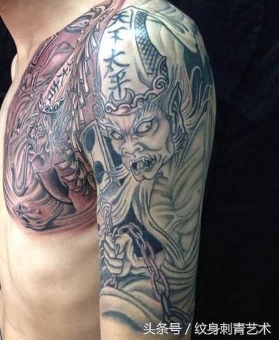 黑白无常纹身手稿半臂