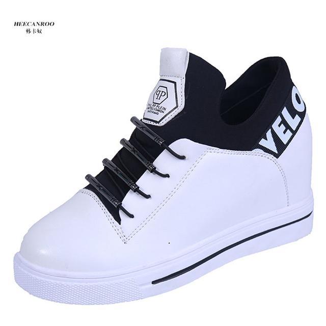 高帮内增高女鞋2019新款韩版百搭坡跟加绒休闲旅游鞋
