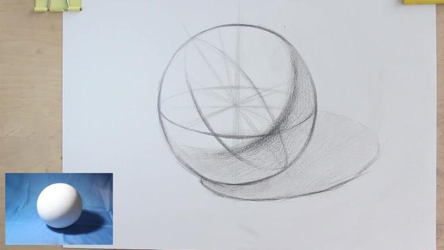 球体的画法步骤,素描入门如何画球体,球体的明暗素描... -优酷