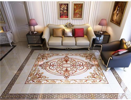 宝鸡家装公司:客厅地面瓷砖效果图 精美的客厅拼花地砖图片赏析