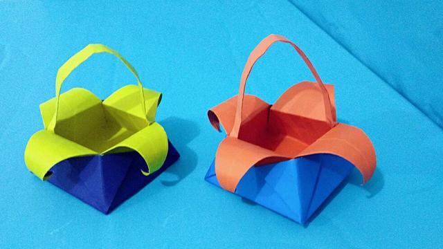 可爱的折纸小篮子制作教程 - 纸艺网手机版