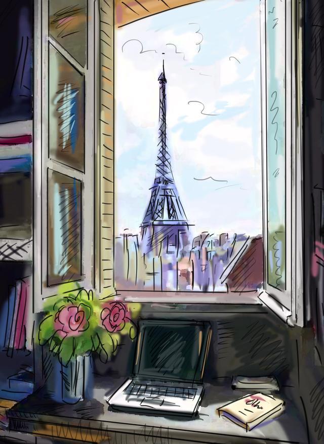 巴黎铁塔画
