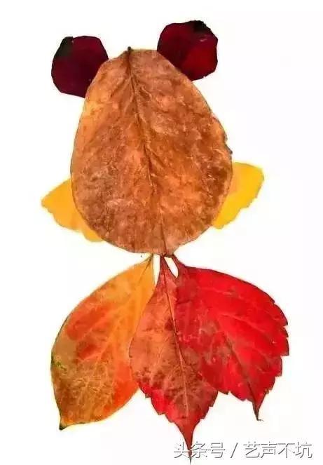 树叶贴画简单又好看