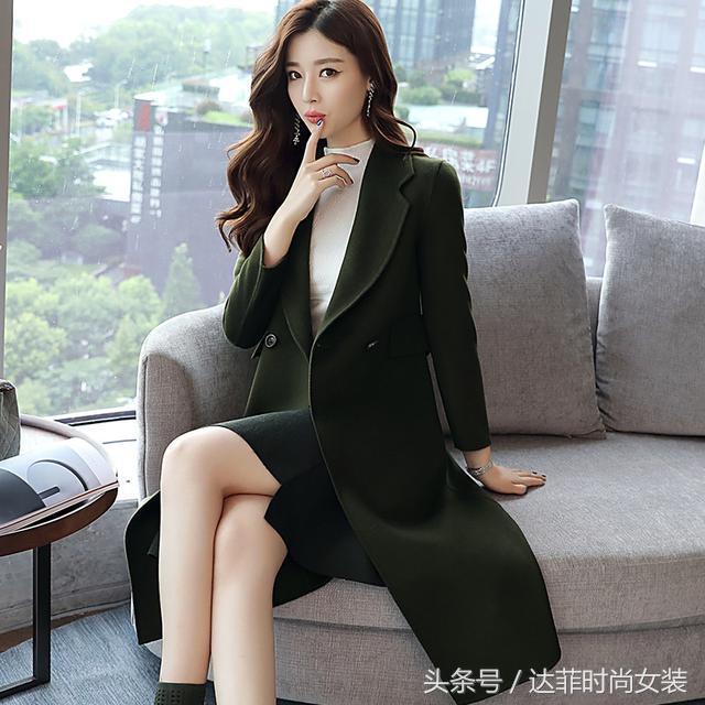 阿尔巴卡羊驼绒双面呢大衣女中长款加厚2018秋冬新款羊毛毛呢外套
