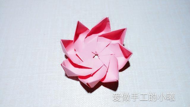 简单荷花折纸花步骤图解 - 5068儿童网