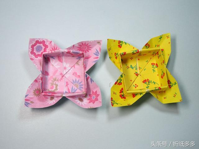 简单的折纸盒子 双爱心收纳盒的折法步骤图解