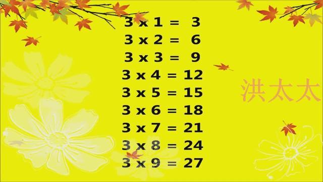 九九乘法口诀表