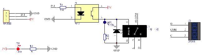5v继电器模块原理图