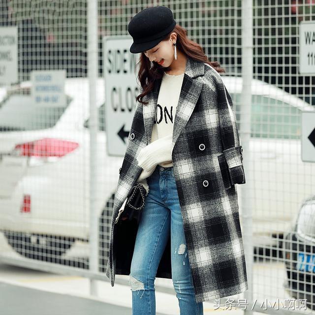 格子毛呢外套女中长款2018新款秋冬韩版呢子大衣