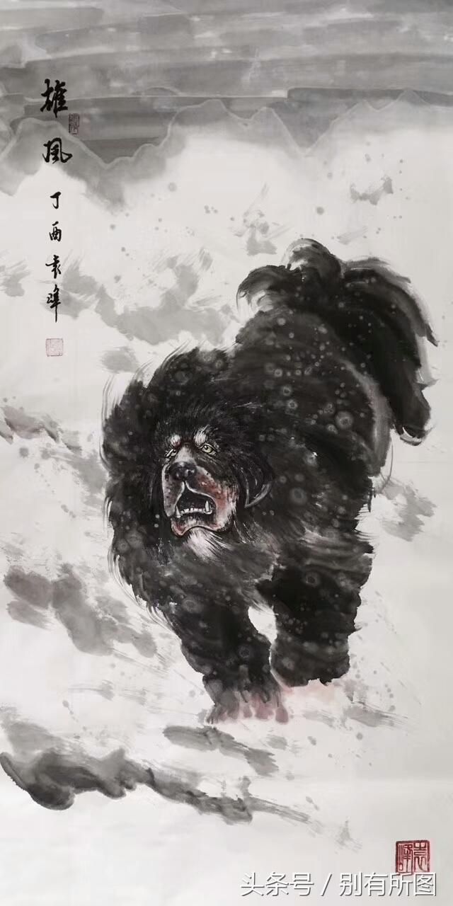 藏獒图片油画