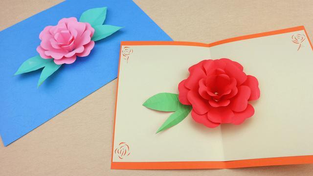 可以送的贺卡又多了一种!跃然纸上的立体玫瑰花,快快学起!