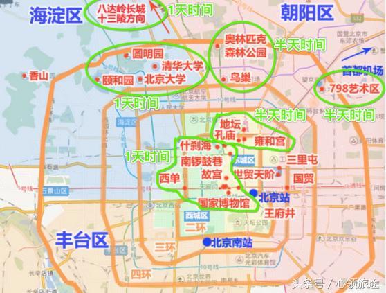 北京景点地图和线路图