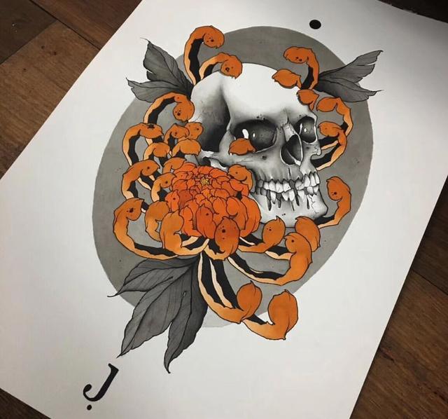 纹身骷髅玫瑰