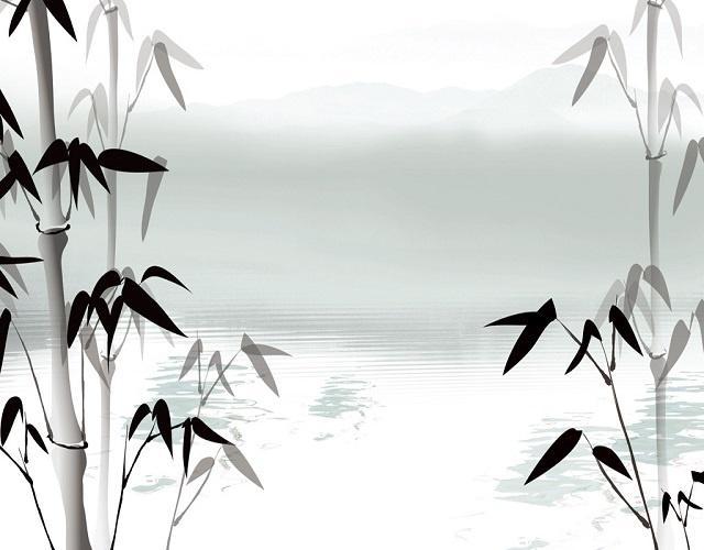 现代水墨竹子