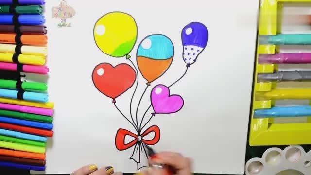 一串氣球簡筆畫彩色