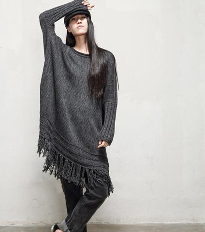 女中长款薄针织衫