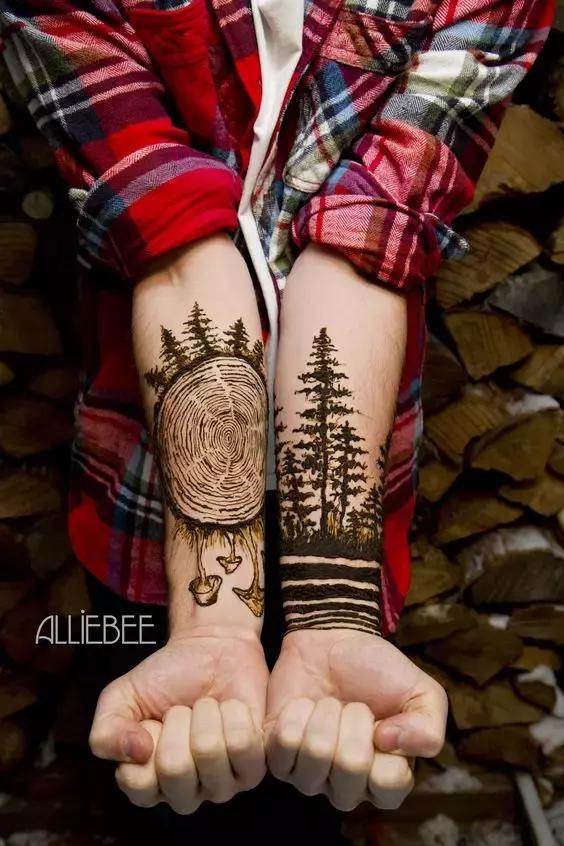 臂环纹身手稿线条