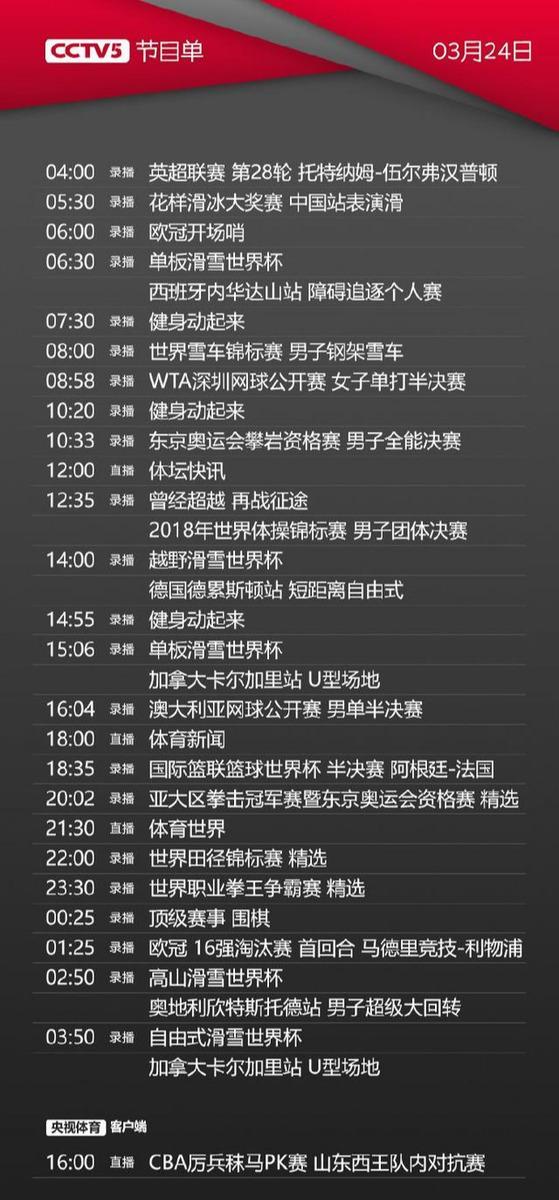 CCTV5+体育赛事频道今天节目单(11月29日)
