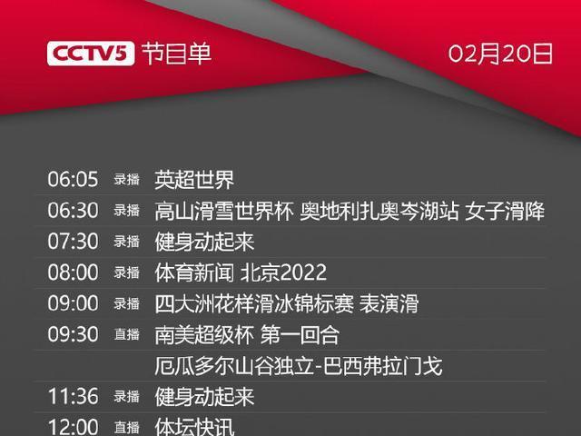 央视体育CCTV5/5+今天节目单(2月20日)