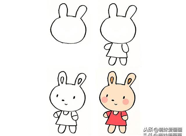 可爱的小兔子简笔画大全|跟着步骤画小兔子,想不可爱都不行