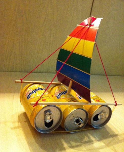 ...童手工制作方法_易拉罐制作帆船DIY制作教程图解 - 5068儿童网