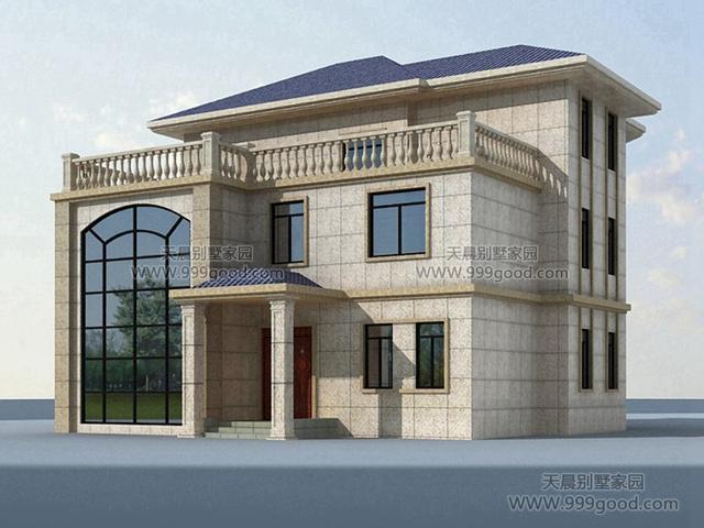 13X14米两层半别墅设计图,旋转楼梯,复式挑空。