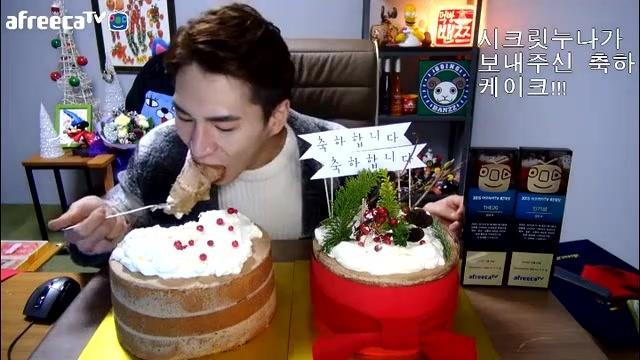 韩国大胃王奔驰小哥—获奖后吃蛋糕 看着好诱人!