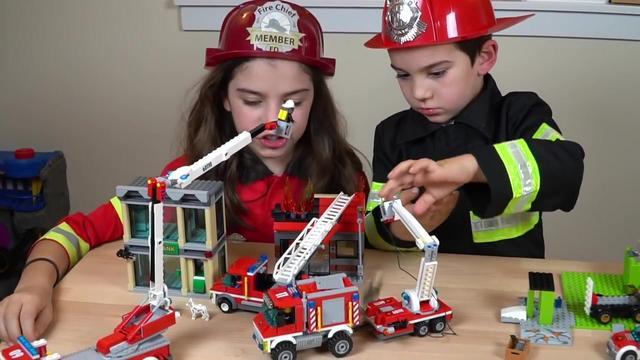 最佳消防员服装假装玩乐高城市消防车-儿童套装玩具