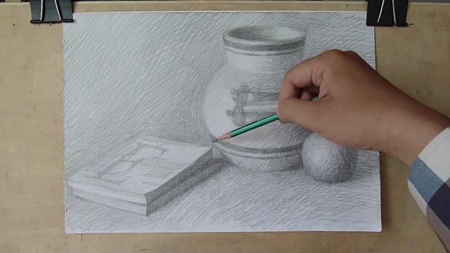 中性笔明暗风景素描画